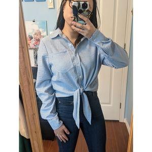 🌼 H&M Striped Tie Front Blouse